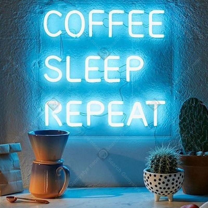 Enseignes lumineuses au néon café sommeil répétition néon ampoule enseigne non lampe à LED artisanat pièce magasin affichage néon Letrero néon enseigne lumine
