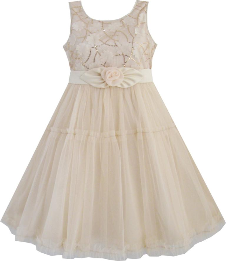 Sunny Fashion Girls Dress Shinning Sequins Beige Tulle Layers Wedding Pageant Kids Children Clothes 2-10 Summer Princess Dresses