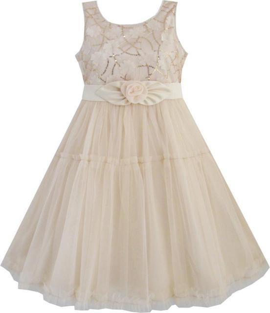 Sunny Fashion roupas infantis menina Camadas Girls Dress Shinning lantejoulas bege casamento Tulle Pageant bebê crianças roupa das crianças 2-10 Verão Princesa Vestidos