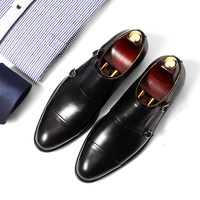 dress shoes mens Oxford shoe Retro handmade wedding party 2018 spring autumn monk double strap black leather dress oxfords shoes