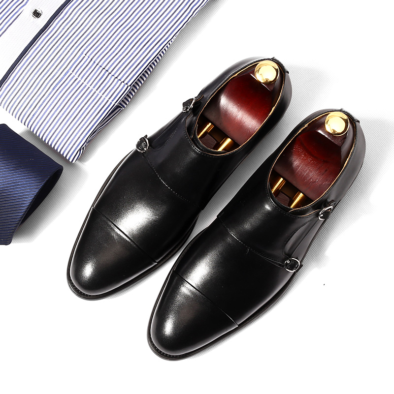 dress shoes mens Oxford shoe Retro handmade wedding party 2018 spring autumn monk double strap black leather dress oxfords shoes цены онлайн