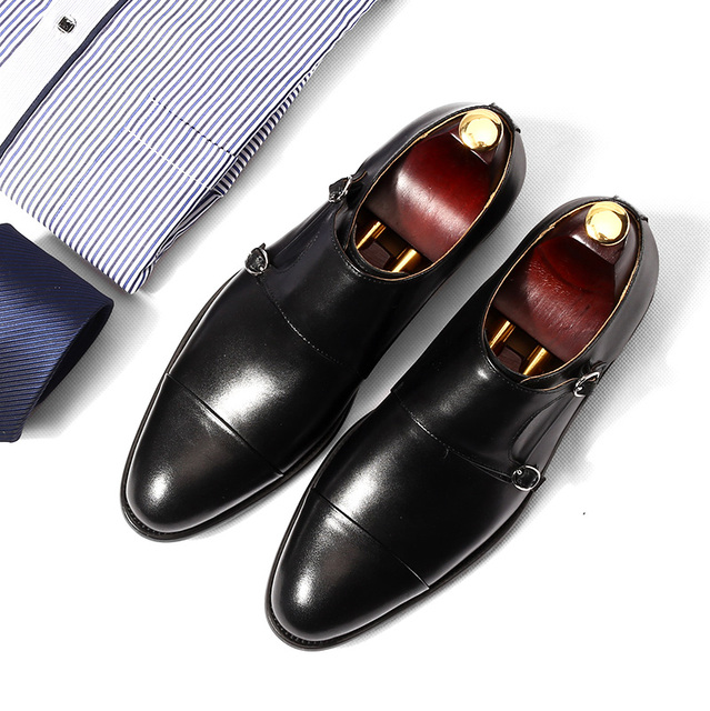 f609b08d724e dress shoes mens Oxford shoe Retro handmade wedding party 2018 spring  autumn monk double strap black leather dress oxfords shoes