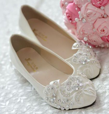 flat heel lace rhinestones wedding shoes for woman new pr1860 ivory lace  party proms da1ad54b0a53