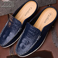 Crocodile half men shoes sandals slippers lazy summer backless sandals Baotou summer blue leather drag