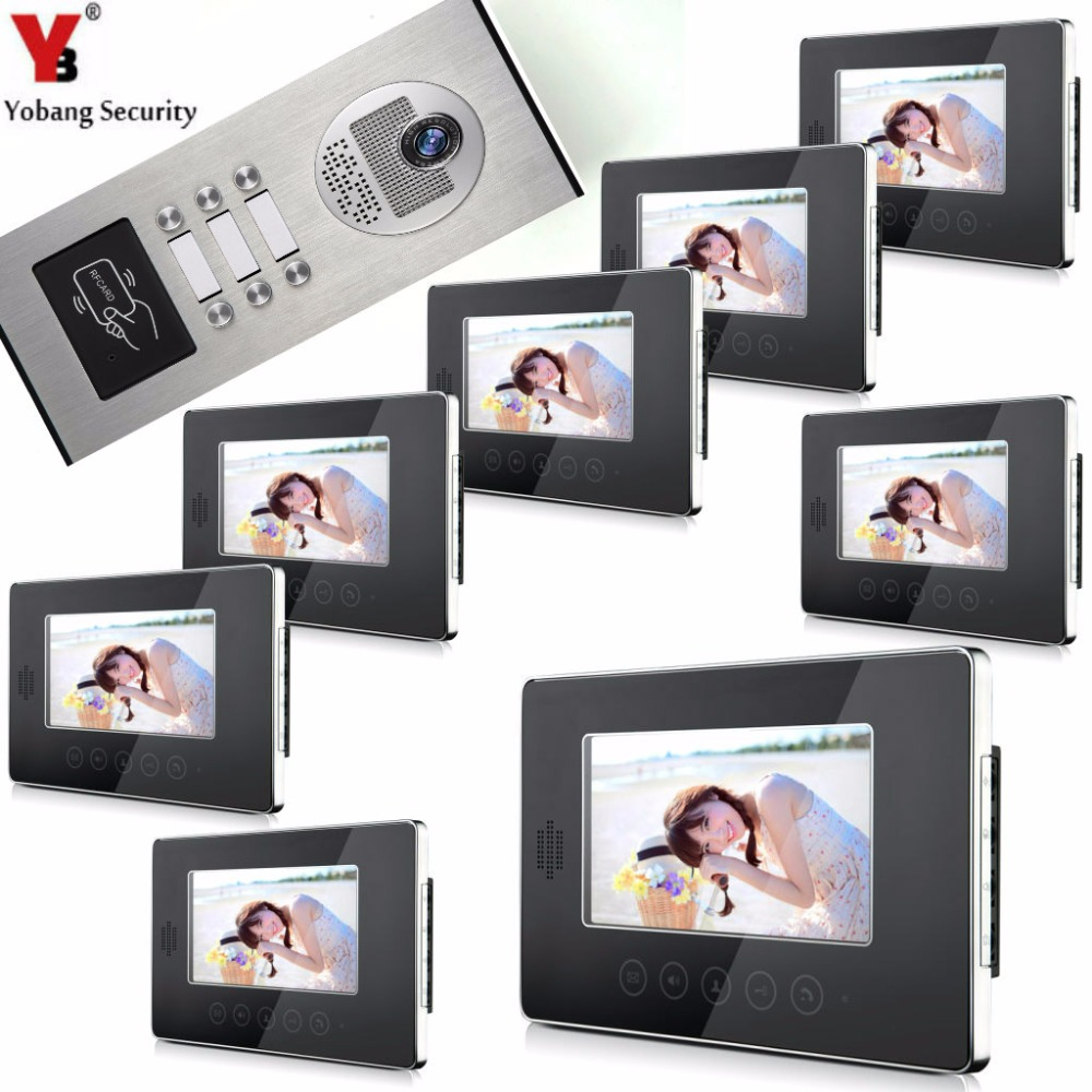 YobangSecurity Video Door Intercom Entry System 7Inch Video Door Phone Doorbell Chime RFID Access Control 1 Camera 8 Monitor 7 inch password id card video door phone home access control system wired video intercome door bell