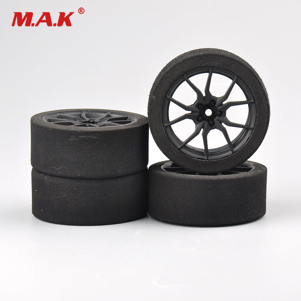 4Pcs/Set Racing Foam Tire Wheel Rims Set For HSP HPI 1/10 On-road RC Car 12mm Hex RC Racing Cars Accessories 1 8 big foot tire hsp big tire diameter 150mm rc car 1 8 17mm wheel rims hex hub 4pcs