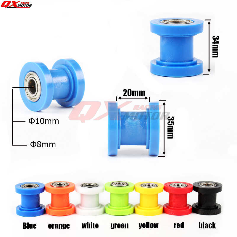 8/10 Mm Drive Chain Roller Pulley Roda Slider Tensioner Panduan Roda untuk Enduro Sepeda Motor Motorcross Pit Dirt Bike ATV CRF CR XR