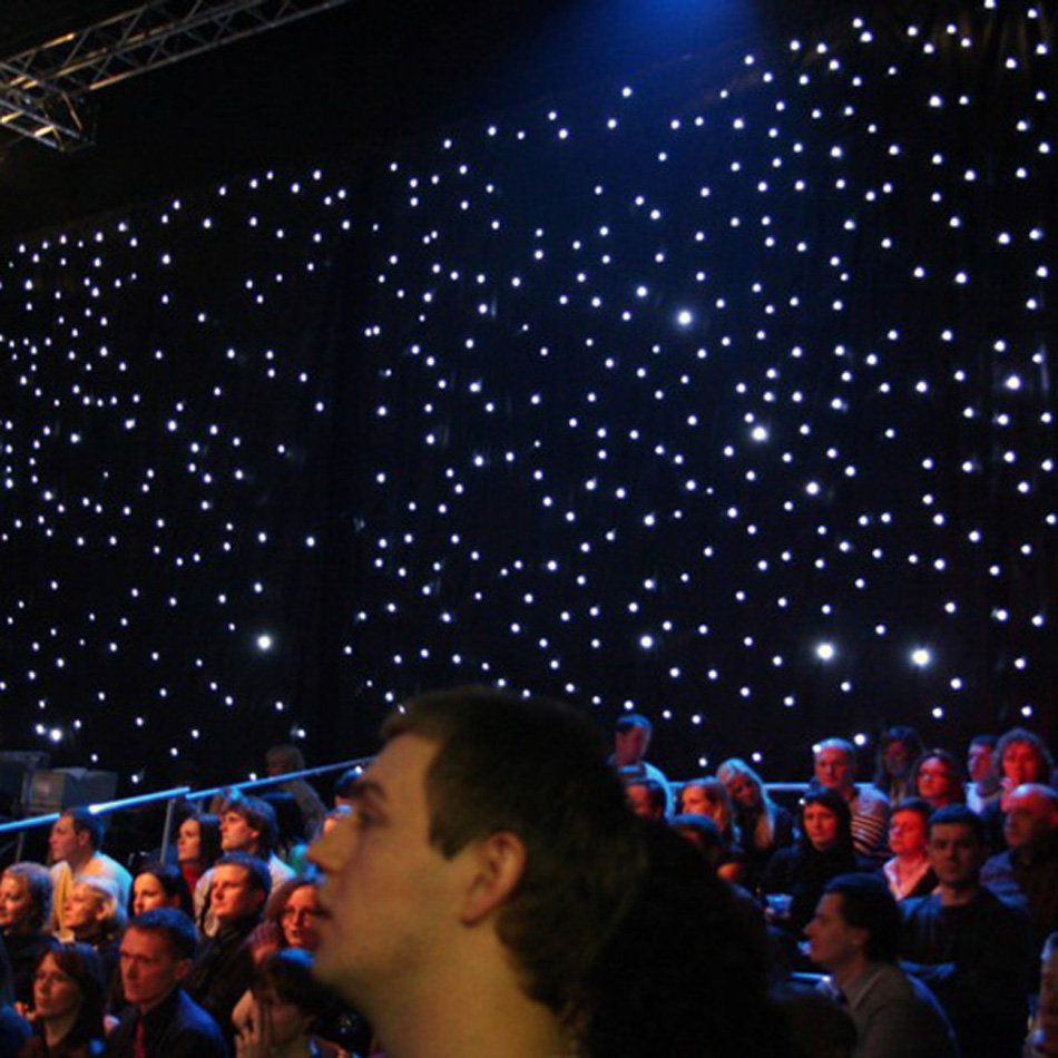 Black and white stage curtain - 3 Meter X 6 Meter White Lights Black Fireproof Velvet Wedding Stage Led Star Curtain Backdrops