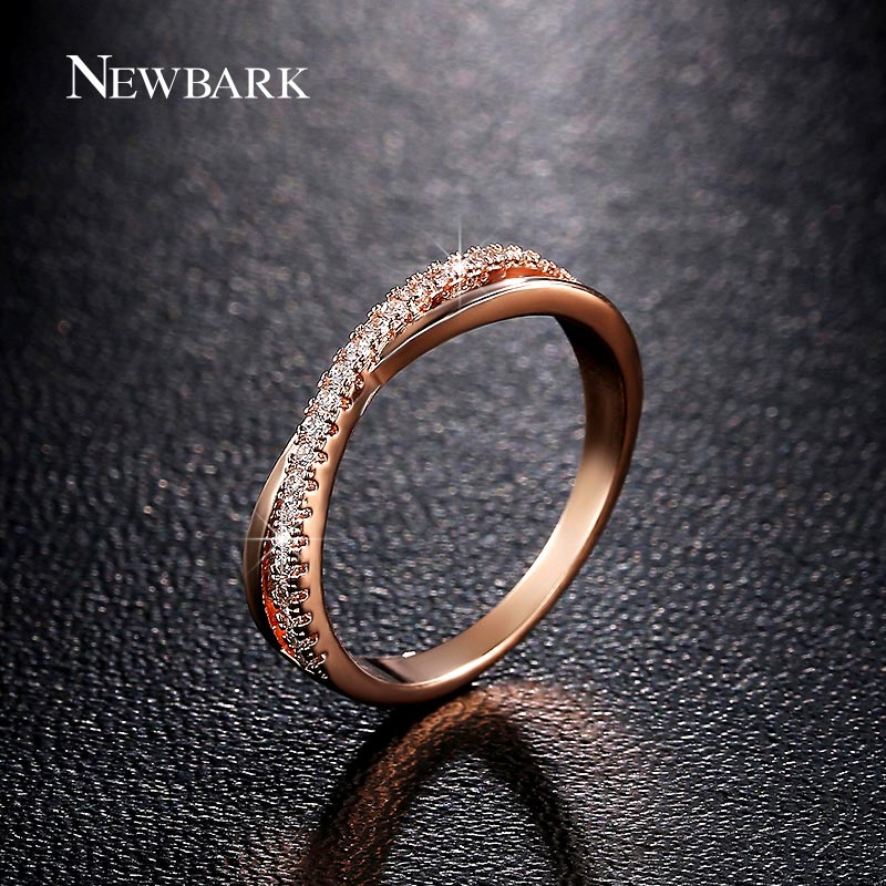 NEWBARK New Item X Shape Ring AAA CZ Trendy Round Crystal Finger Cross Rings For Women Engagement / Wedding / Party / Banquet