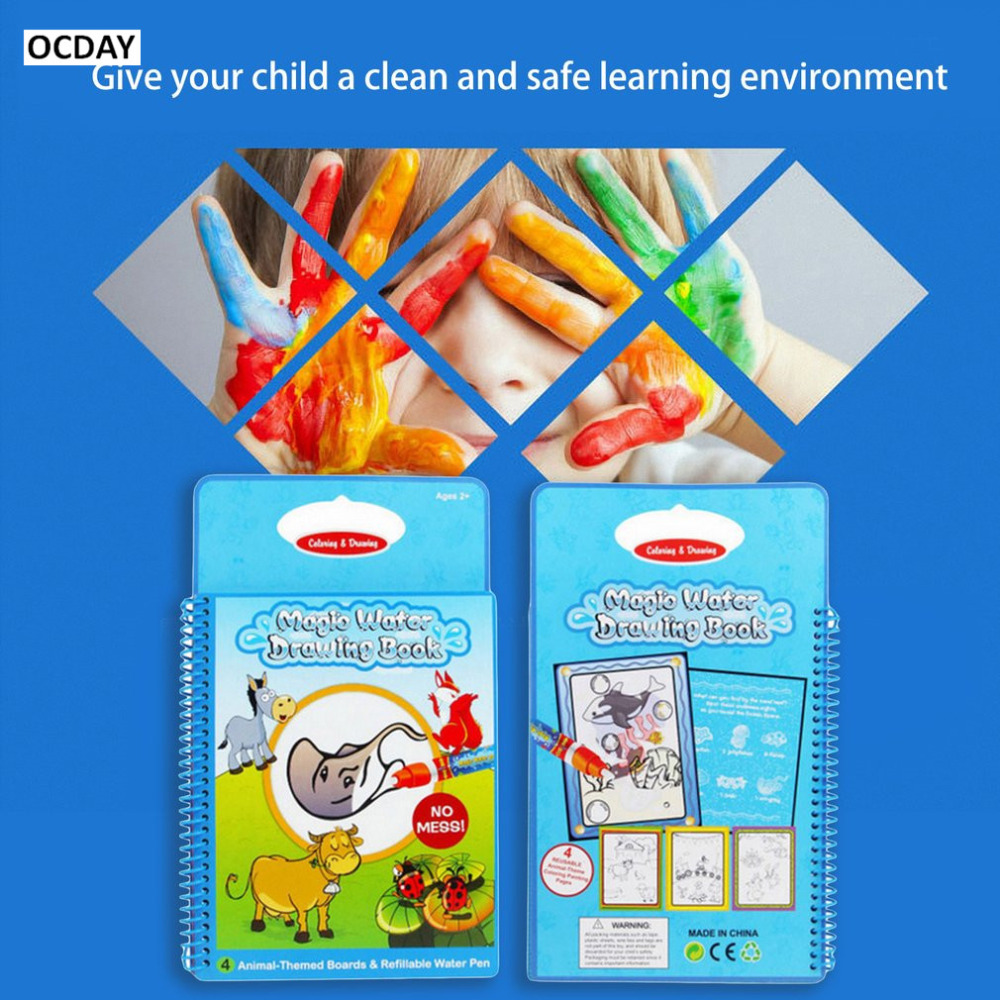 OCDAY Children Educational Drawing Toys Cognitive Doodle Animals Book Water Painting Board Coloring with 1 Magic Pen Funny