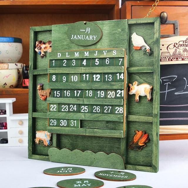 Estremamente Nostalgia di Legno In Stile Rurale bilingue FAI DA TE calendario  UO36