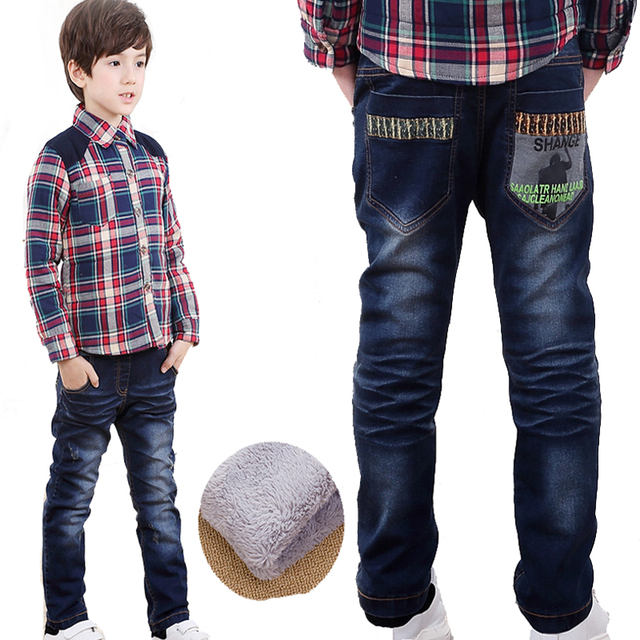 New Brand Baby Boy Jeans Korean Fashion Kids Jeans Pants For Boys Winter Thick Cashmere Jeans Children Clothes Boy Blue Denim
