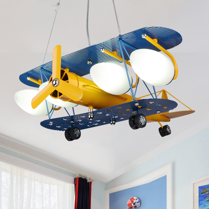 retro children's aircraft pendant lamps children's pendant light bedroom light boy room cartoon lights LED personality WL5070919 hghomeart kids led pendant lights basketball academy lights cartoon children s room bedroom lamps lighting