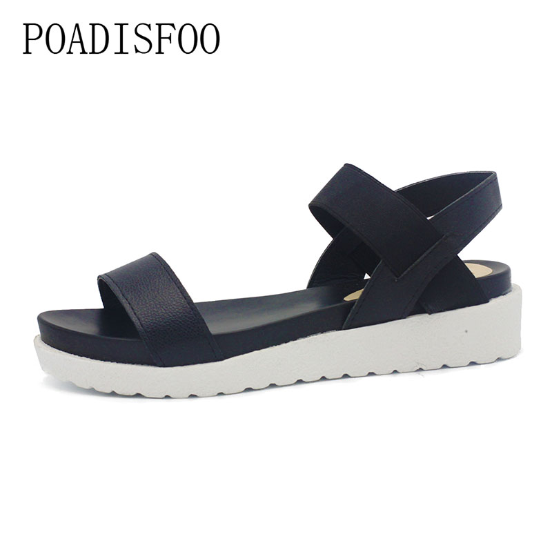 POADISFOO 2018 summer  fashion Wedge women Leopard Print Casual Sandals Strip Low Platform Open Toe Shoes For Woman  .XL-198 mudibear women sandals pu leather flat sandals low wedges summer shoes women open toe platform sandals women casual shoes