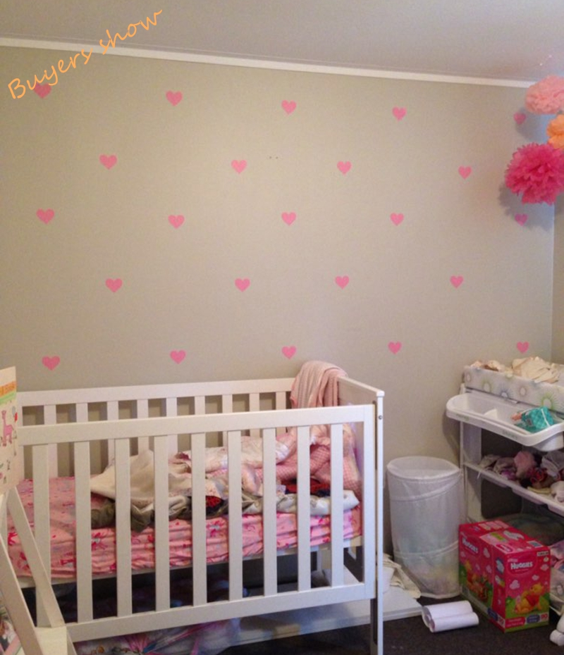 Free shipping Metallic Gold Wall Stickers Heart shaped pattern vinyl wall decals nursery art decor Little Hearts Stickers-in Wall Stickers from Home ... & Free shipping Metallic Gold Wall Stickers Heart shaped pattern vinyl ...