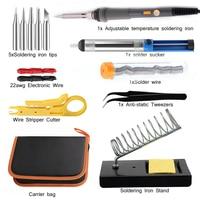 Electric Soldering Iron Kit Welding Tool W Soldering Tips Iron Stand Desoldering Pump Tin Tweezers Solder