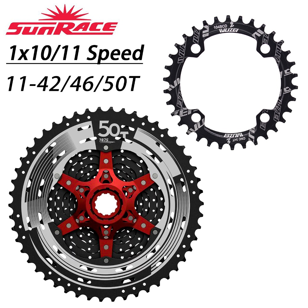 WUZEI Bicycle Chainring 32T 34T 36T 38T SunRace Cassette 42T 46T 50T 10 11 Speed Freewheel