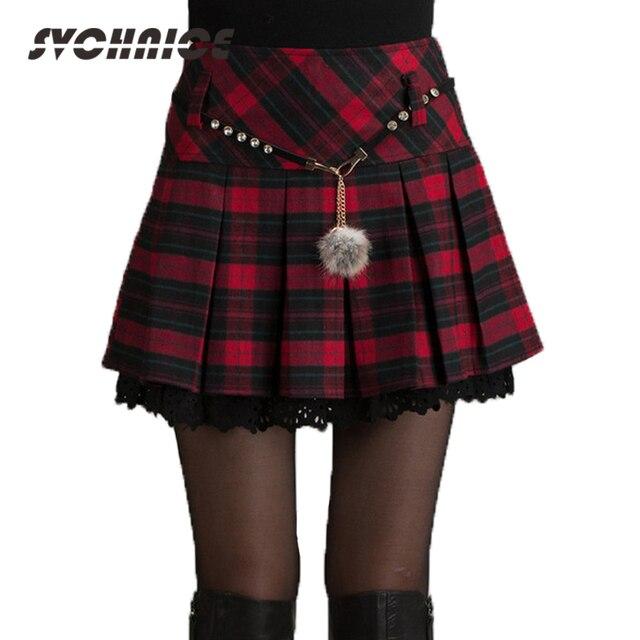 Mode Automne Hiver Jupe Femmes 2018 Printemps Écolière Sexy Court  Gris Rouge Plissée Jupe Mini cdd762d2b50