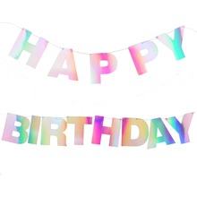 Unicorn Ray Iridescent Rainbow Happy Birthday Banner Bunting Holografic Hologramm Shimmer Shine Party Decorations
