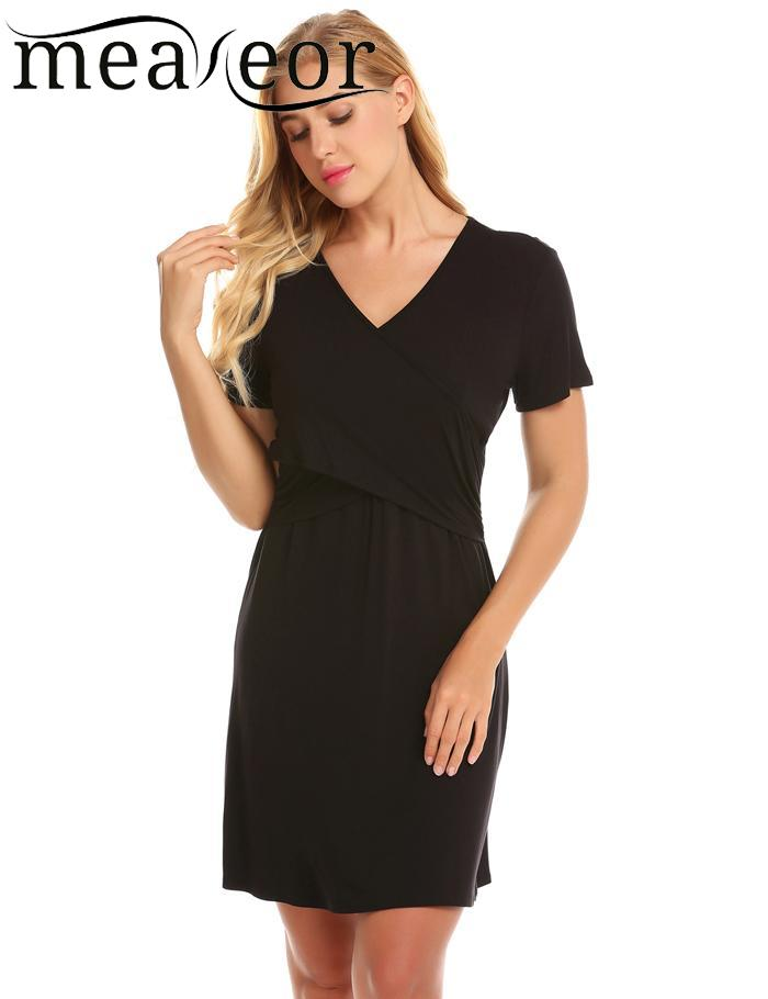 meaneor Breastfeeding Solid V-Neck Soft Maternity Nursing Women Nightgown Dress
