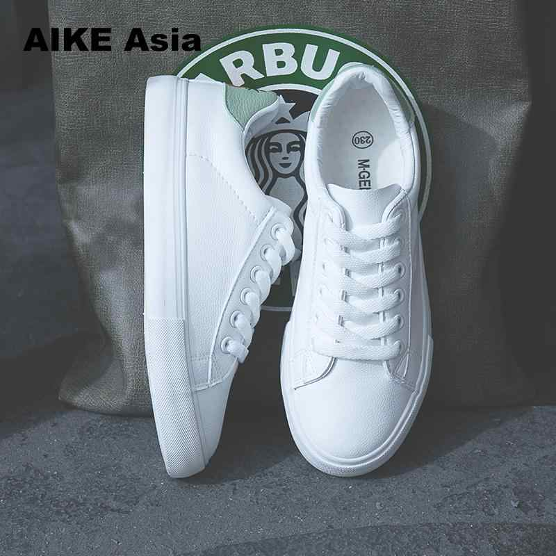 Aike אסיה נשים סניקרס 2020 אופנה Breathble נעלי גופר עור מפוצל פלטפורמת תחרה עד מקרית לבן Sneaker tenis Feminino