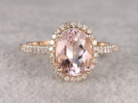 MYRAY 14k Yellow Gold 7x9mm Oval Natural Vintage Pink Morganite Diamond Halo Thin Band Engagement Ring Wedding Anniversary Rings