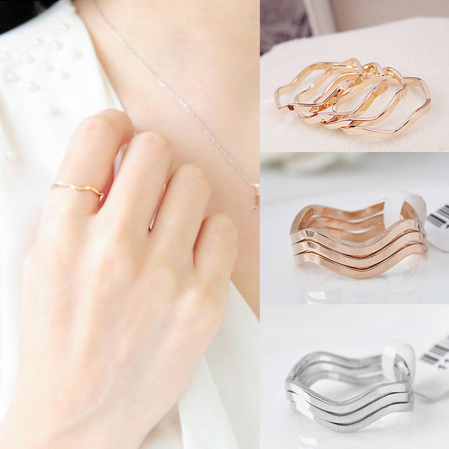 1PC Simple Korean Style Wavy Golden Silvery Alloy One Size15mm Joint Tail Rings