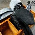 Preto Cinza de Lã Magros Laços para Homens 6 cm de Largura 2016 Nova Moda Gravata Magro Cor Sólida de Algodão Laço Estreito varejo