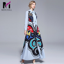 Merchall Runway Floral Print Women Long Party Dress 2019 Designer Summer Sleeve Turn Down Collar Slim Vintage Maxi Dresses