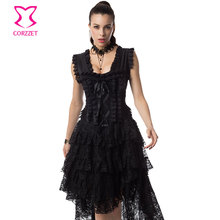 Black Floral Lace Gothic Corset Dress Victorian Corsets And Bustiers Steampunk Clothing Swallowtail Sexy Burlesque Outfits