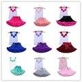 2 unids baby girl Fashion floral ropa de Las Muchachas del pettiskirt tutu falda set Rosetas superior Princesa Cumpleaños Niñas establecen 8 colores
