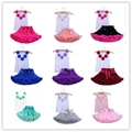 2pcs Fashion baby girl floral clothes set Girls pettiskirt tutu skirt set Rosettes top Princess Birthday Girls set  8 colors