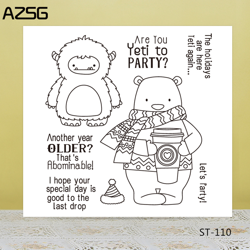 AZSG Scarf Bear Silicone Clear Stamps Seal For DIY Scrapbooking Decorative Card Making Craft Fun Decoration Supplies in Stamps from Home Garden