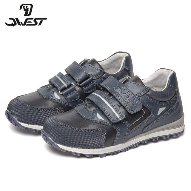 Кроссовки QWEST  для мальчиков  81P-XY-0798, кожаная стелька, вид застежки липучка, для прогулки  и отдыха, размер 28-33.