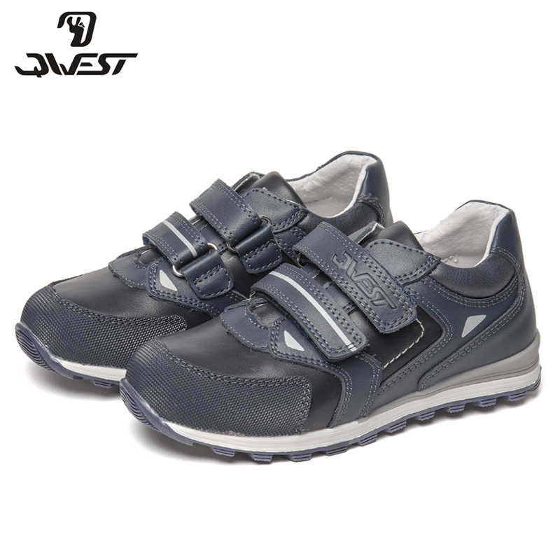 QWEST Brand Correction Leather Insoles Solid Spring& Summer Children Sport Shoes Size 28-33 Kids Sneaker for Boy 81P-XY-0798 bonjomarisa new brand plus size 33 40 cow leather flower woman shoes high heel women shoes black office summer sandals