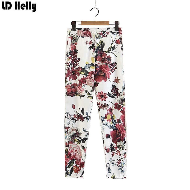 LD Helly Women Pants Floral Print Pants Fashion Female Zipper Pockets Cozy Street Wear Casual Ankle-Length Trousers Pantalones