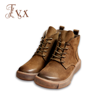 Tayunxing Handmade Shoes Genuine Leather Women Boots Zipper Fabric Insole Comfort Wedges Low Heels 11502 1