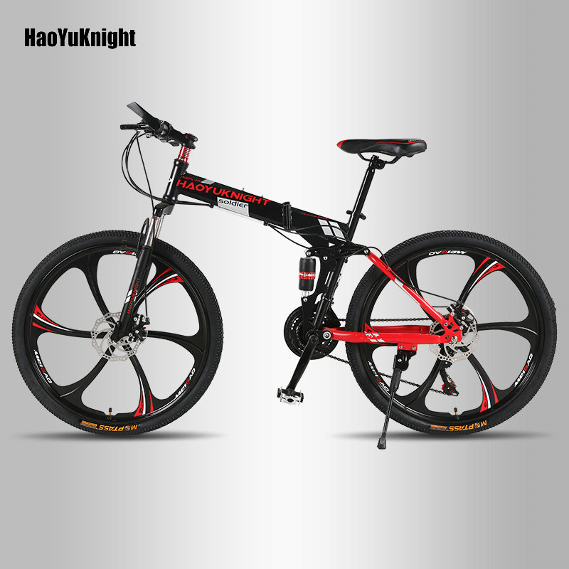 HaoYuKnight vélo VTT 21 vitesses tout-terrain hommes et femmes adultes étudiants un rayons roue vélo pliant