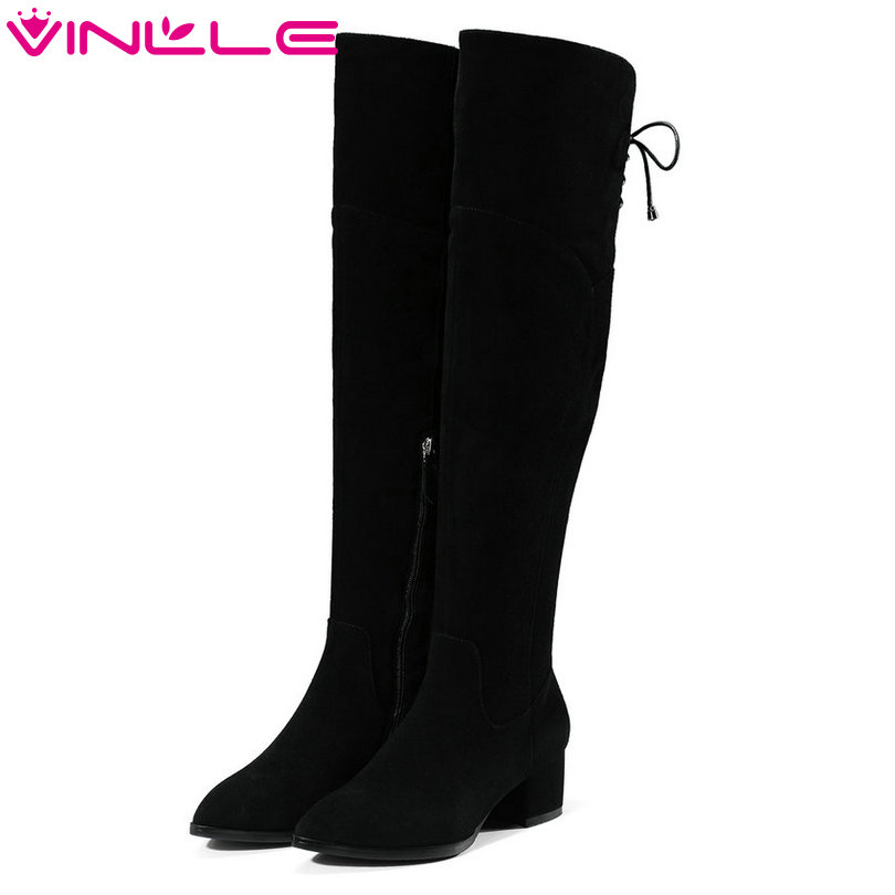 VINLLE 2018 Women Boots Over The Knee Boots Square High Heel Cow Suede Elegant Zipper Ladies Motorcycle Shoes Size 34-39 vinlle women boot square low heel pu leather rivets zipper solid ankle boots western style round lady motorcycle boot size 34 43