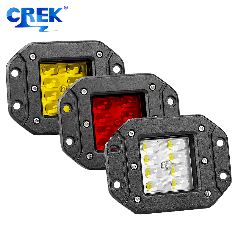 CREK 2pcs 24W 9-32V Flush Mount LED Pods Offroad LED Light Truck Rear Light For Jeep 4WD 4x4 SUV ATV Offroad LED Fog Light