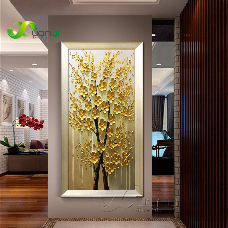 Money Tree Palette knife Oil Painting Artwork Hand Painted Canvas Art Painting Picture For Living Room Wall Decoracton Unframed