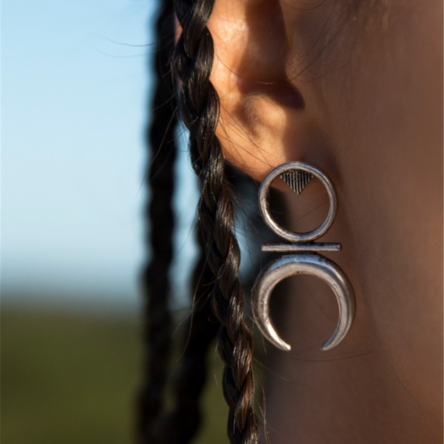 Tribe Style Silver Gold Earrings Native Ornaments
