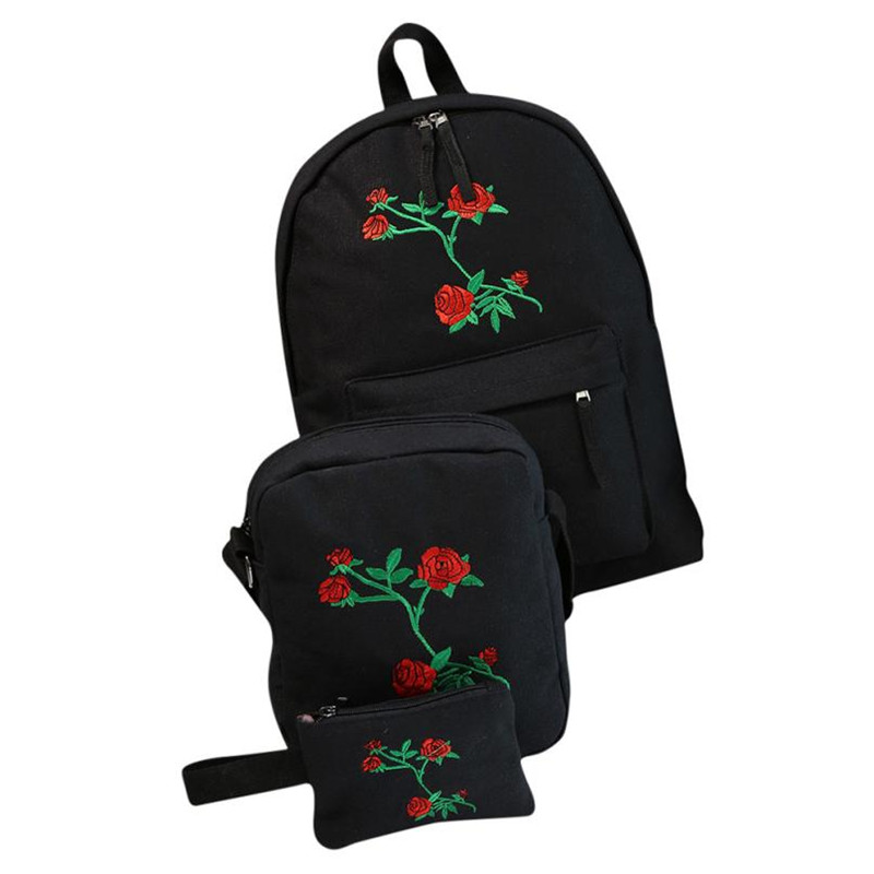 3 Sets Girls Embroidery Rose School Bag Travel Backpack Bag Canvas Backpacking Backpack Teenager Lightweight Bookbags