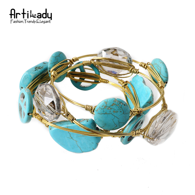Artilady gold wire wrapped bangle statement bracelet stackable ...