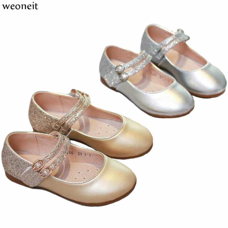 Weoneit Children Princess Shoes Girls Sequins Girls Wedding Party Kids  Dress Shoes for Girls Silver   5e7f65640abc