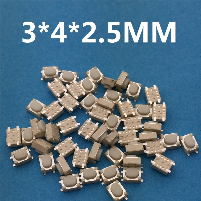 50pcs/lot SMT 3x4x2.5MM 4PIN Tactile Tact Push Button Micro Switch G75 Self-reset Car Remote Control Switch Free Shipping