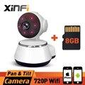 XINFI HD 720 P Onvif Wi-fi Câmera de Segurança Sem Fio Em Casa Inteligente Mini Camera Baby Monitor Remoto Móvel Proteção Cam COM 8 GB CARTÃO