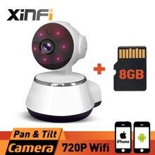 XINFI HD 720 P Onvif Sans Fil de Sécurité À Domicile Caméra Wifi Intelligent Mini Caméra Moniteur Pour Bébé Protection Mobile À Distance Cam AVEC 8 GB CARTE
