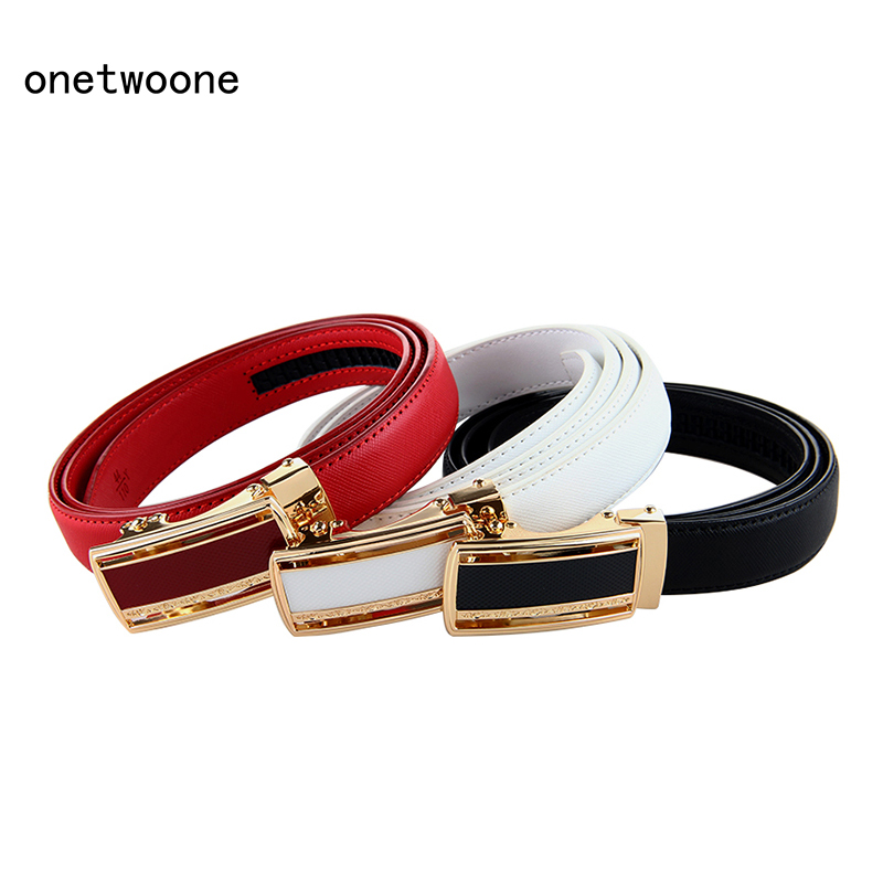 Women Belt Luxury Famous Designer Brand High Quality Genuine Leather Strap Automatic Buckle Belts for Dress Free Shipping in Women 39 s Belts from Apparel Accessories