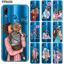 Чехол для телефона с черными и коричневыми волосами для мамы и дочки Huawei P30 Lite P30 Pro P20 Lite P8Lite P9Lite P10 P Smart Capa